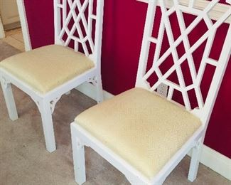 """chairs in the Hickory """"Chinese Chippendale"""" pattern"""