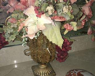 many silk flower arangements