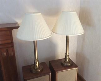 pair of brass lamps. $ 95.00