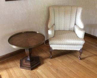 side table $ 65.00.  Side wing chair 4 125.00