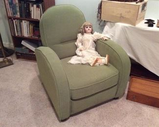antique doll. 125.00. , green side chair. 125.00