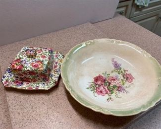 33.Ceramic Bowl & Covered Dish  $20