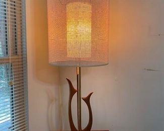 """52.60's Lamp w/Wood Base  40""""H x 14""""W   $90"""