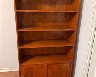 "57.Pine Bookcase w/Bottom Cabinet 35""L x 12""D x 62 ½""H    $110"