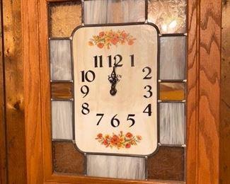 """66.Elgin Wall Clock w/Stain Glass  22""""H x 18""""W  $34"""
