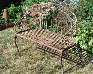 Rustic garden bench & PERENNIALS!
