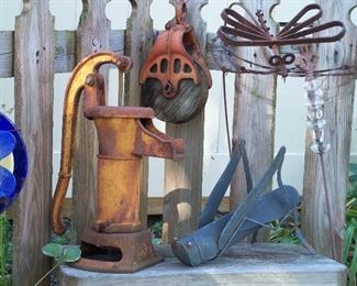 Rustic water pump, pulley & garden decor