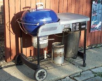 Cobalt blue Weber Performer Grill
