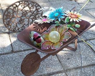Vintage wheelbarrow & flower stakes