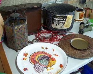Enameled Thanksgiving platter, canning pot