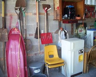 Vintage kid's chair & toys, garden tools