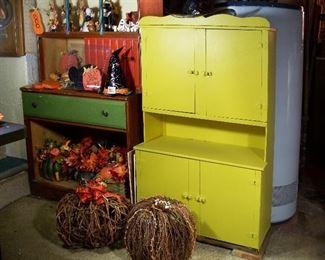 Antique child's cabinet, rattan& grapevine pumpkins