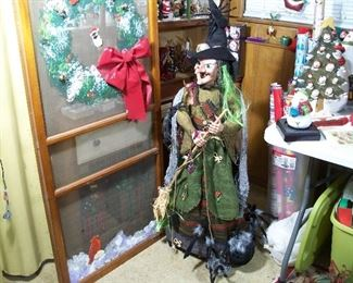 Large witch porch greeter, hand-painted screen door