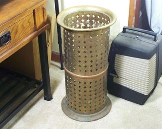 Brass & copper umbrella and cane holder