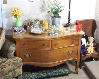 Antique tongue & groove oak dresser