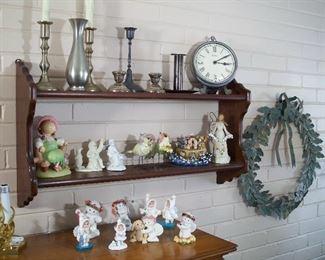 Candlesticks, Snow Babies & metal wreath