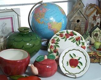 Vintage globe, apple decor