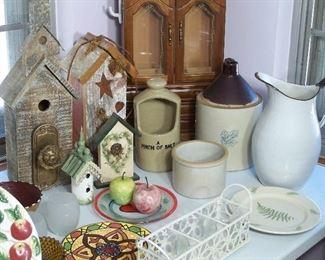 Birdhouses, stoneware and enamelware