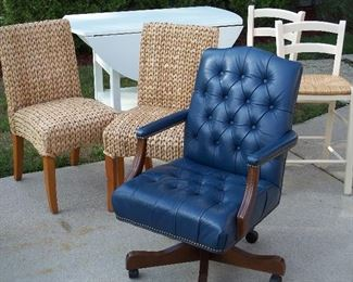 Leather desk chair, drop leaf table, chair pairs