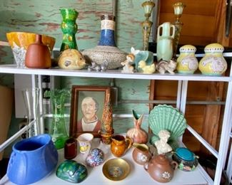 Many unique pieces of pottery and decor.