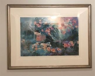 """Large painting signed and number by artist.  Name is """"Green Thumb"""".  Great floral colors and excellent framing"""