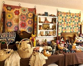 BEAUTIFUL QUILTS BY FAMOUS EAST TEXAS PIONEER, MAGGIE MCGEE.  LOTS OF ANTIQUE & VINTAGE LINENS, AWESOME DOLLS.