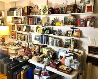 THE STUDY, WITH LOTS OF BOOKS, PRINTERS-NEW IN BOX, BOARD GAMES, VINTAGE BOWLING TROPHIES, INTERESTING THINGS....