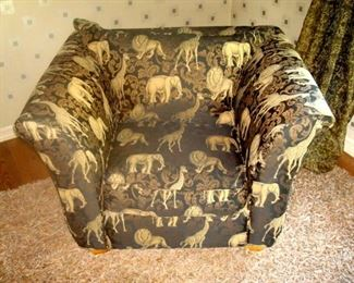 Klausner oversize chair with animal upholstery.