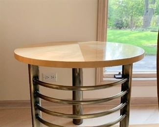 Contemporary Metal & Wood Side Table