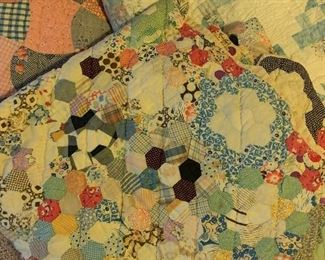 LARGE COLLECTION HAND STITCHED VINTAGE QUILTS
