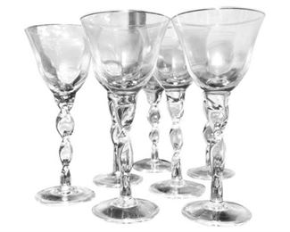 Set of Yellow Wine Glasses