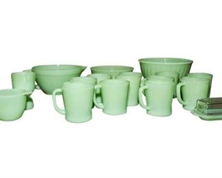 Group Lot Mint Green Milk Glass Items