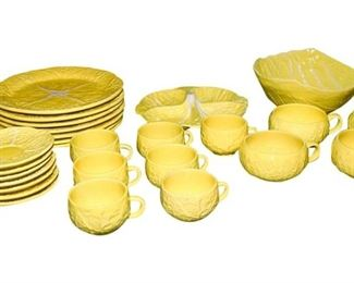 Partial Set Portuguese Yellow Majolica Cabbage Leaf Dinnerware