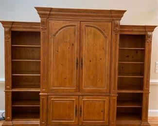 "*Pre-Sale Item* Ethan Allen ""Tuscany"" Entertainment Center with 2 side detachable stand alone side cabinets."