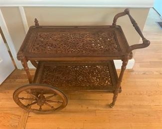 Hand Carved Bar or Tea Cart from Turkey