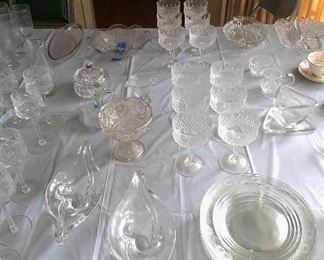 Loads of crystal serving pieces & glasses, including a pair of Sevres crystal serving dishes