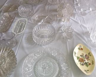 Loads of crystal serving pieces & glasses, including a Waterford crystal salad bowl