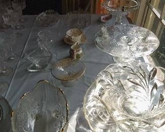 Loads of crystal serving pieces & glasses