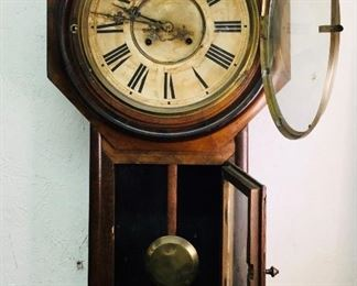 1800s Antique school clock with key looks like rosewood