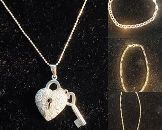 14k white gold Necklace with a Sterling Silver and diamond heart shaped pendant. Three 10k gold Bracelets. Each sold individually