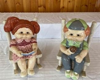 Two Adorable Cabbage Patch Ceramic Pieces