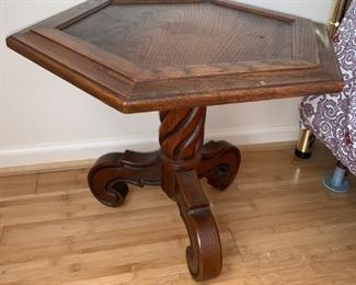 Unique Carved Hexagon Side Table