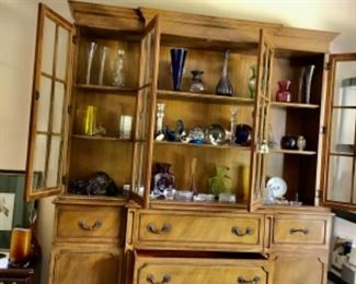 China cabinet full of glass, porcelain