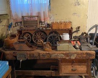 Primitive Bench/Vise, Wooden Scoops, Scissor Light, Washer Wringer
