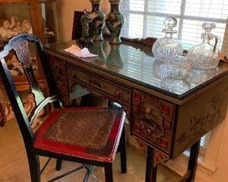 """Hand painted desk/glass top and matching cane seat chair half price of 750$ now $375   Size is 36wide x17 deep &30""""t"""