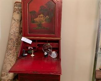 """Red Chinoiserie Secretary with cabinet & drawers- 1/2  off $900. Now $450                        Depth 17-3/4 & 21""""  wide approach 76"""" t"""