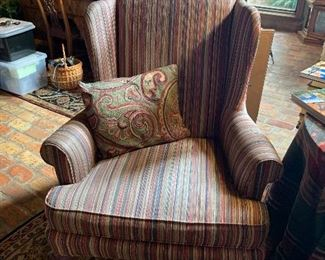 Custom upholstery wing back chair