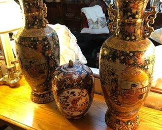 Chinese Satsuma pair of large Vases and Japanese Ginger Jar
