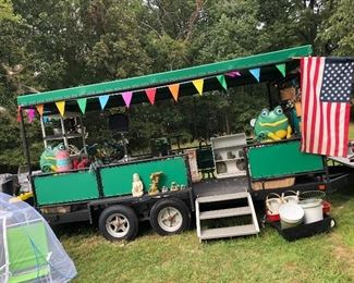 Stage trailer full of outdoor/garden items