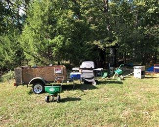 Cart, grill, tools